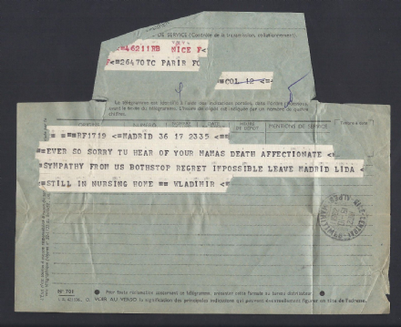 Grand Duke Vladimir Telegram - Death of Princess Helen Constantinova 1962